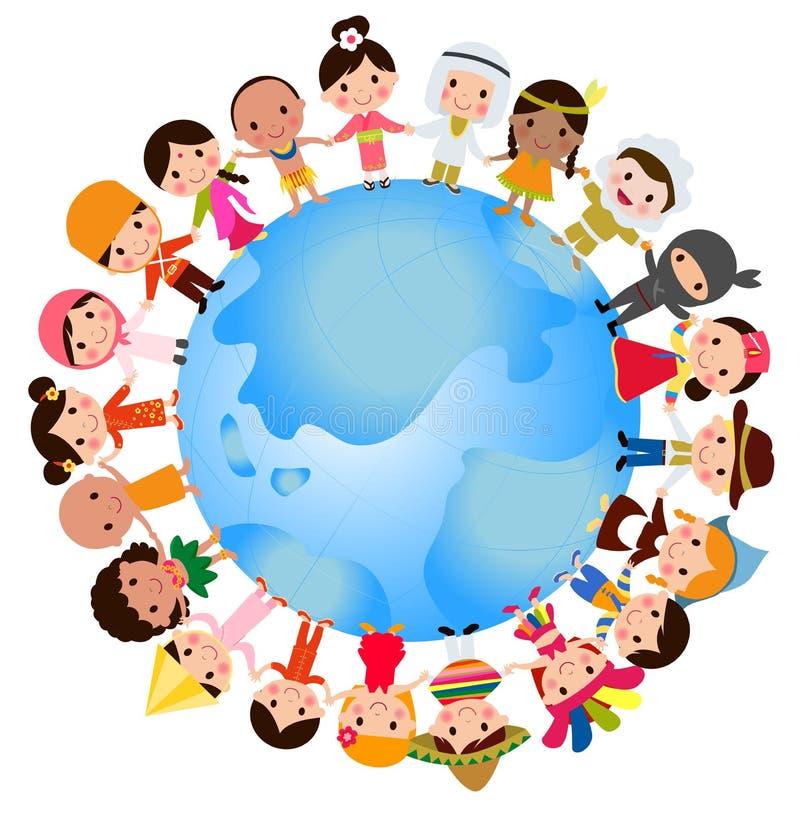 Los niños felices del mundo fijaron con los trajes tradicionales multiculturales libre illustration