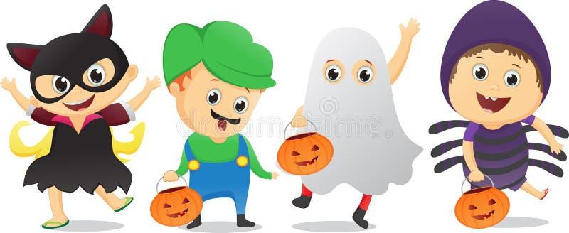 Los niños felices en Halloween van de fiesta truco o tratar stock de ilustración