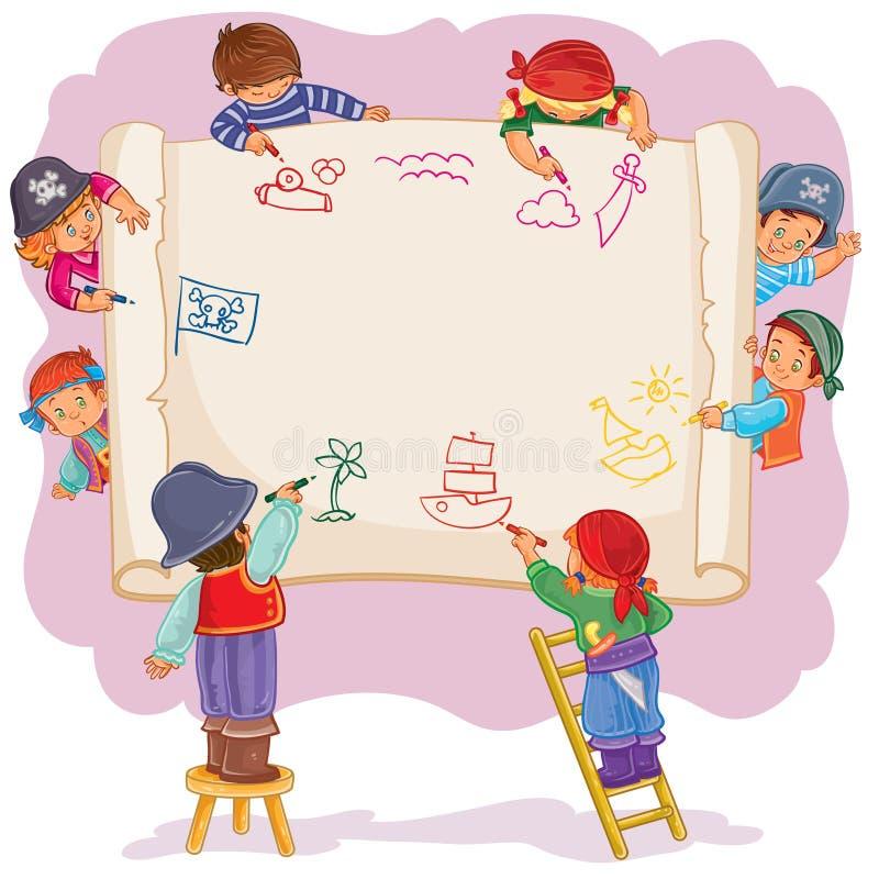 Los Niños Felices Juntos Dibujan En Una Hoja De Papel Grande ...