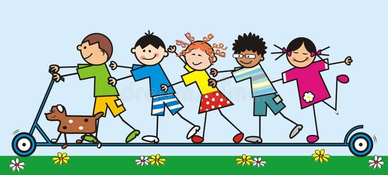 Los niños felices montan la vespa del empuje, ejemplo divertido del vector libre illustration