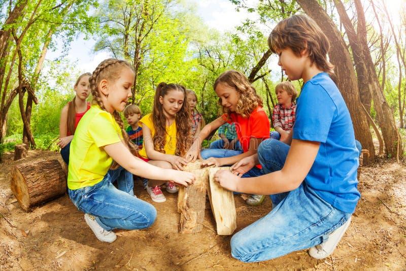 Los niños felices que juegan con abren una sesión el bosque foto de archivo