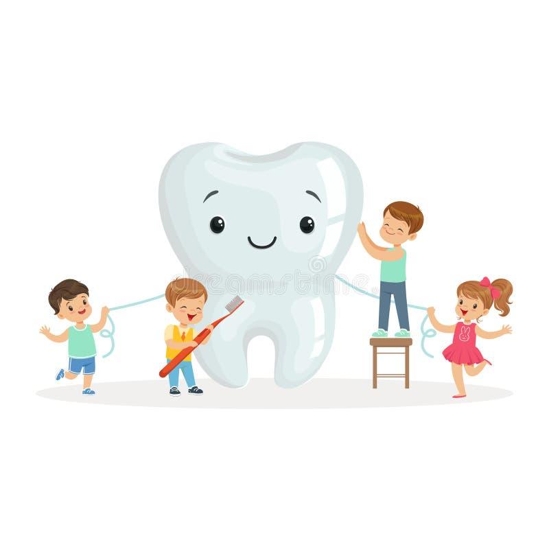 Los niños felices que limpian un diente grande con un cepillo y una seda dental, los personajes de dibujos animados lindos vector stock de ilustración