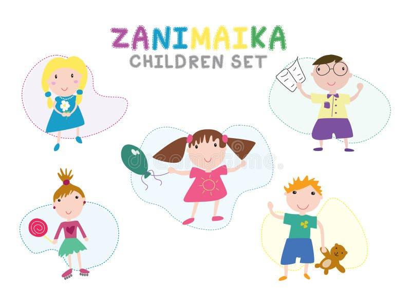 Los niños fijaron en un estilo plano simple libre illustration