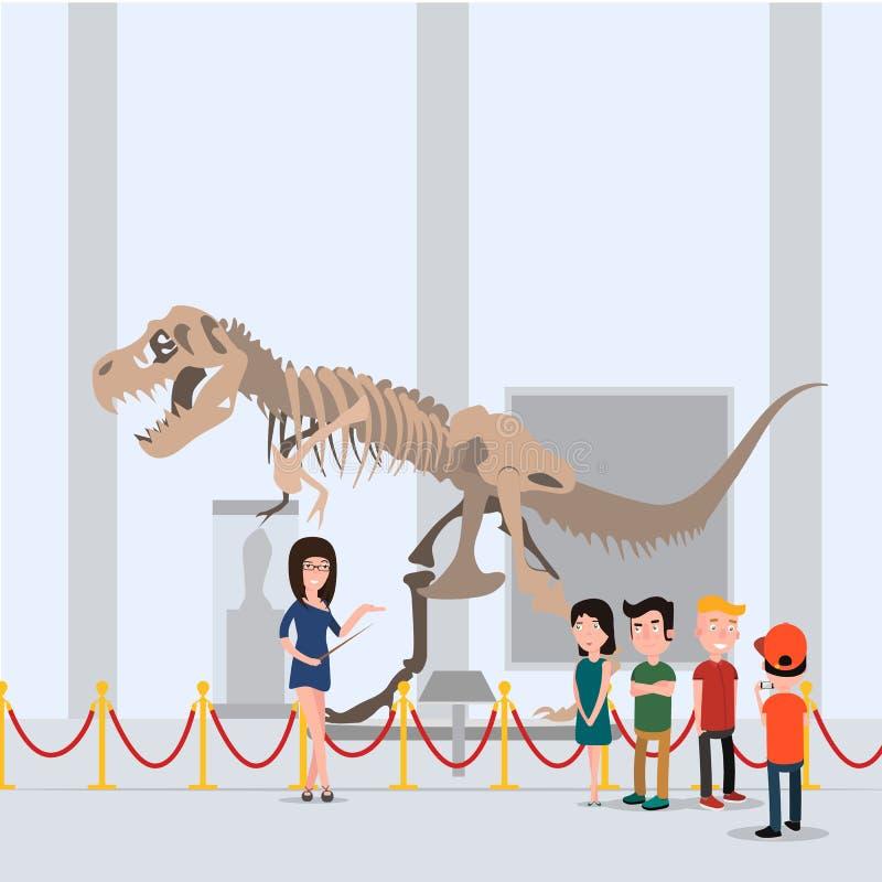 Los niños fueron en un viaje con el profesor en el museo Colocación en el pasillo cerca del dinosaurio stock de ilustración
