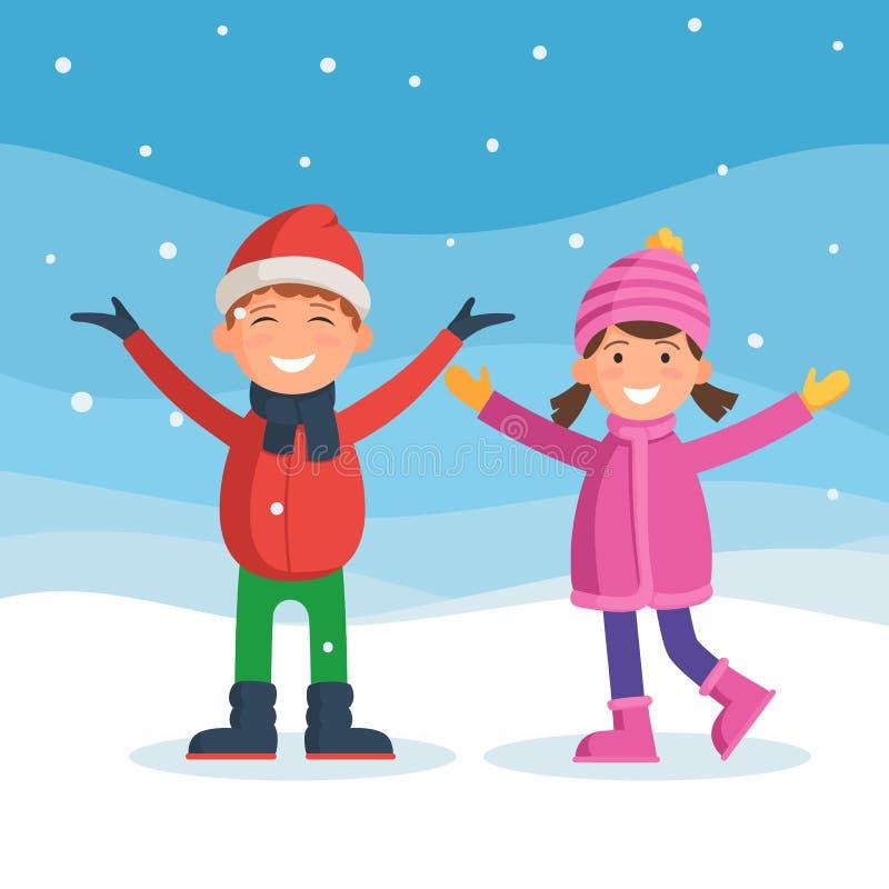 Los niños gozan de la nieve stock de ilustración