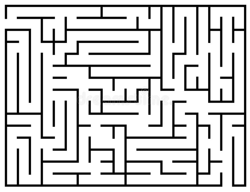 Los niños hablan enigmáticamente, rompecabezas del laberinto, ejemplo del vector del laberinto stock de ilustración