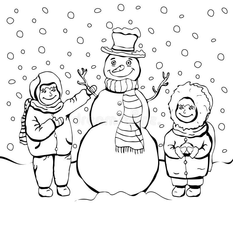 Los niños hacen el muñeco de nieve, colorante, dibujo de esquema linear de la historieta, ejemplo blanco y negro del vector, fond libre illustration