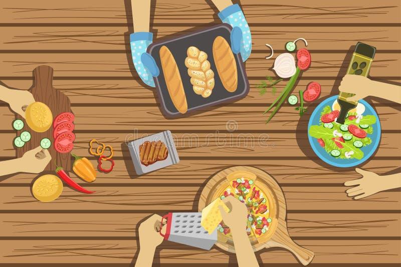 Los niños hacen a mano y cocinando ejemplos de la lección dos con solamente las manos visibles desde arriba de la tabla libre illustration