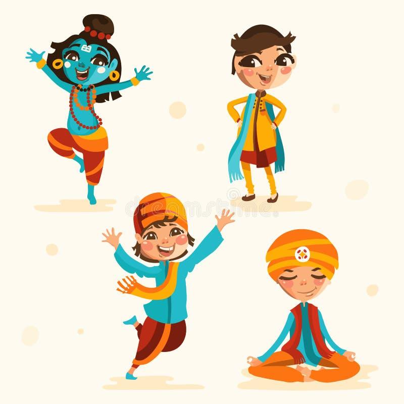 Los niños indios lindos, muchachos en ropa india tradicional fijaron, colección libre illustration