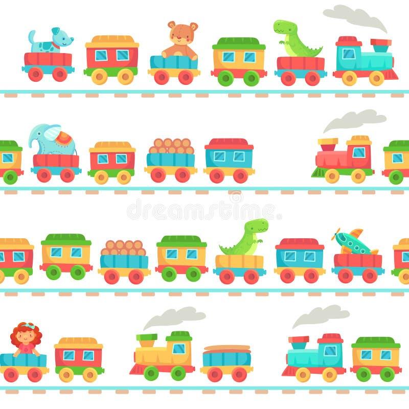 Los niños juegan el modelo del tren Juguetes del ferrocarril de los niños, transporte de los trenes del bebé en los carriles y ve ilustración del vector