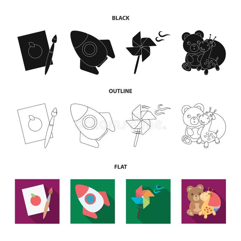 Los niños juegan el negro, plano, iconos del esquema en la colección del sistema para el diseño El juego y la chuchería vector el ilustración del vector