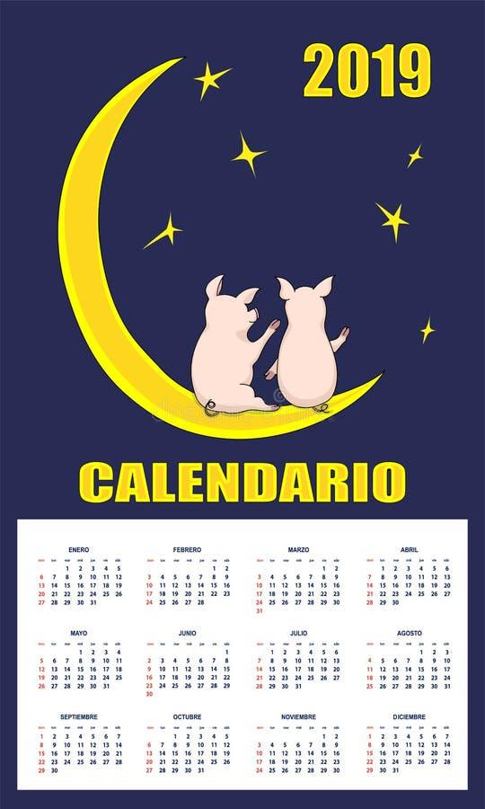 Los niños latinoamericanos hacen calendarios 2019 con los cochinillos en la luna libre illustration