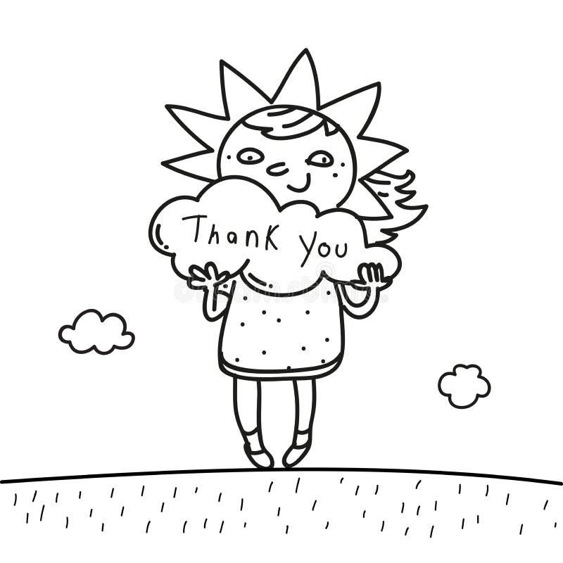 Los niños le agradecen cardar libre illustration