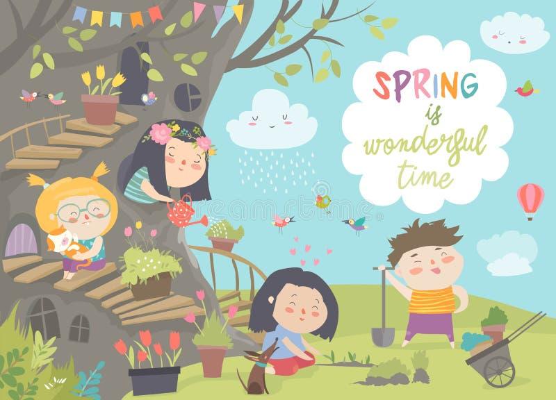 Los niños lindos de la historieta están cultivando un huerto en parque de la primavera libre illustration