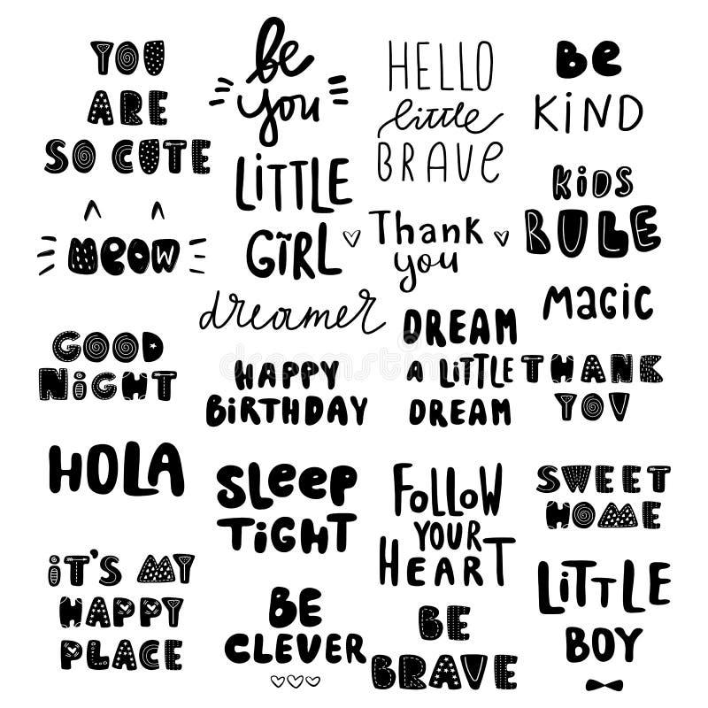 Los niños lindos expresan, para el sitio del bebé, la tarjeta de felicitación, la impresión en la pared, la almohada, el interior libre illustration