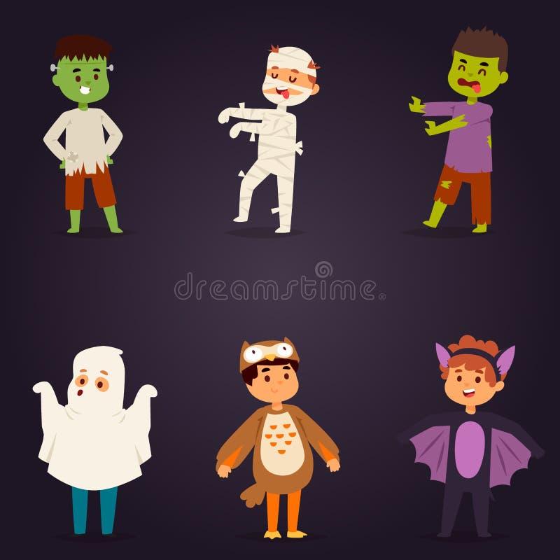 Los niños lindos que llevan el partido de Halloween visten vector stock de ilustración