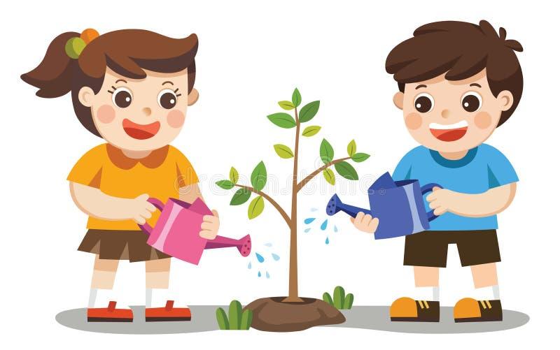Los niños lindos se ofrecen voluntariamente árboles jovenes plantados y de riegos ilustración del vector