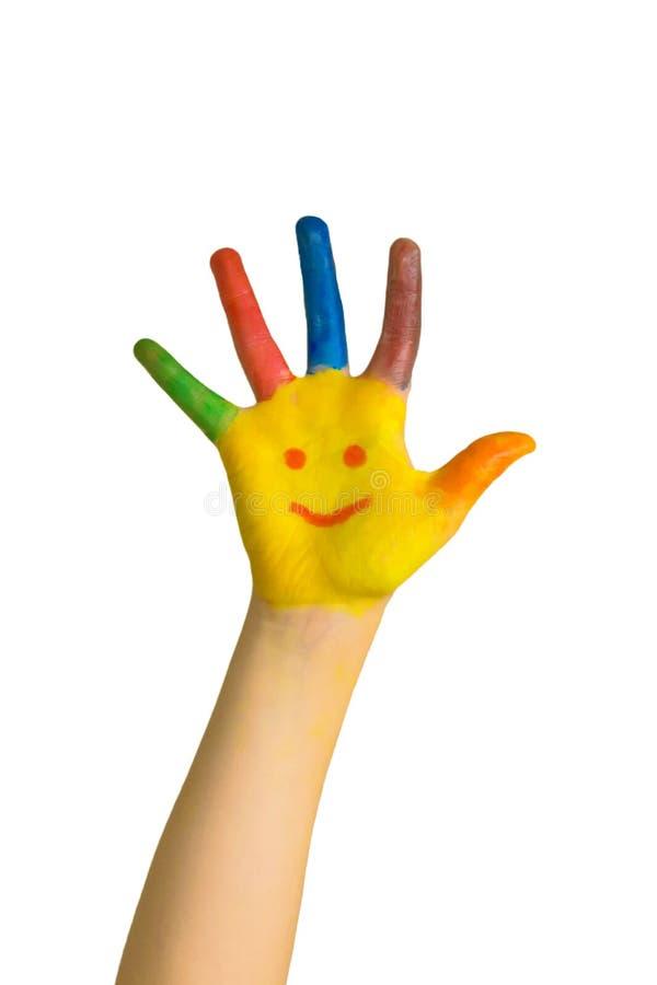 Los niños pintados dan con la cara sonriente Smiley felices del drenaje de los niños imágenes de archivo libres de regalías