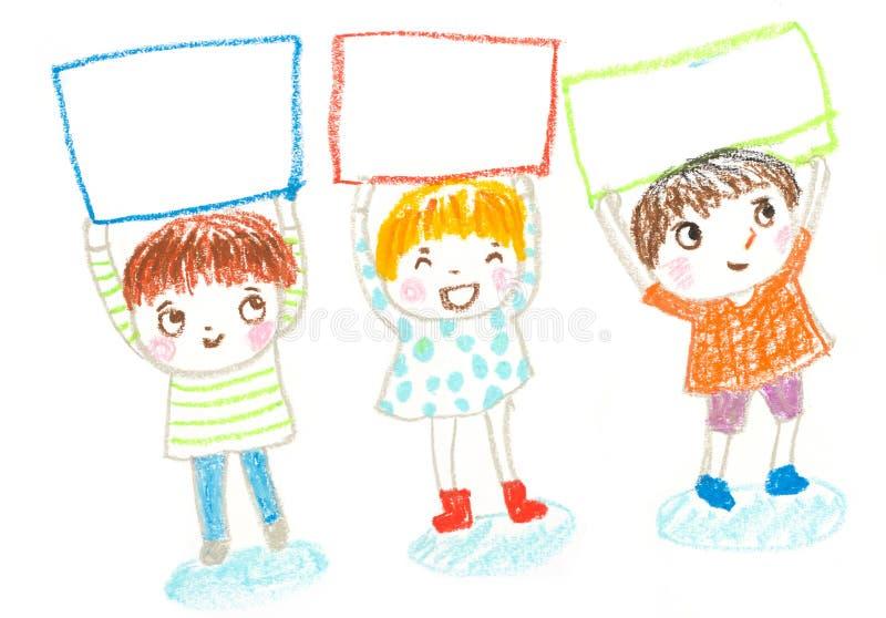 Los niños que llevan a cabo al tablero en blanco, engrasan el ejemplo del dibujo en colores pastel libre illustration