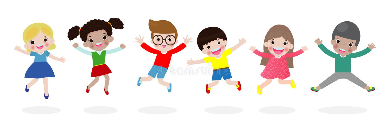 Los niños que saltan en el parque, niños saltan con la alegría, niño feliz de la historieta que juega en el patio, aislado en el  ilustración del vector