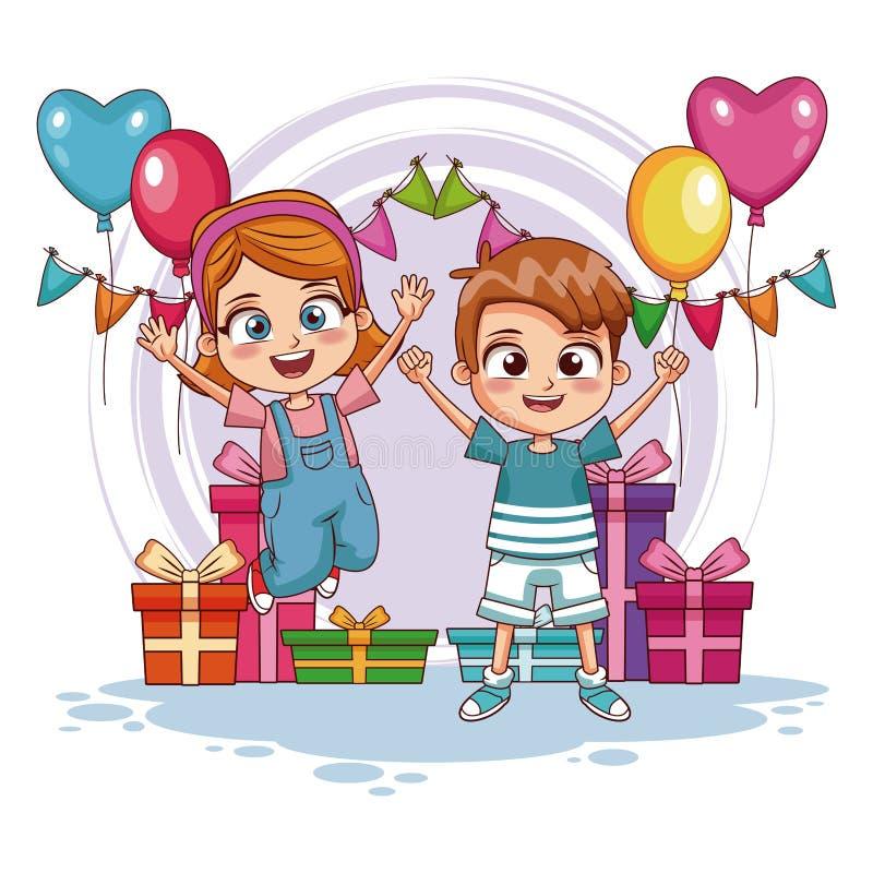 Los niños que saltan en fiesta de cumpleaños libre illustration