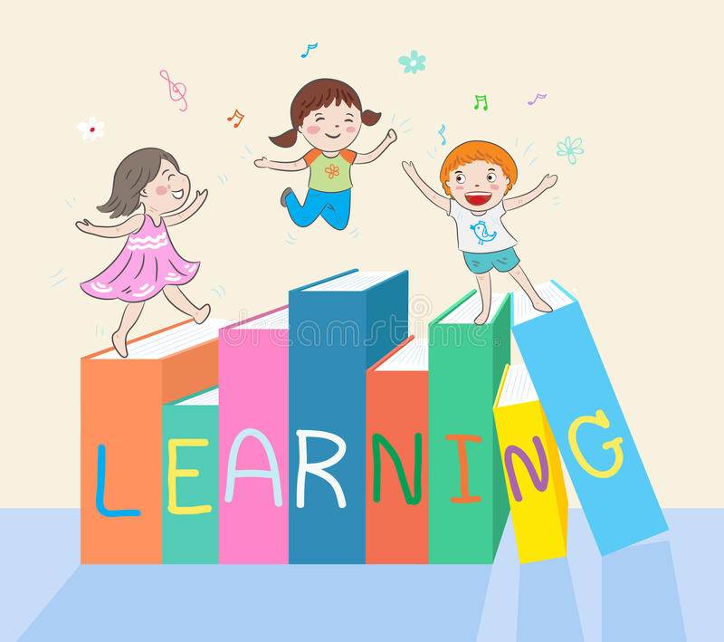 Los niños que saltan en los libros stock de ilustración