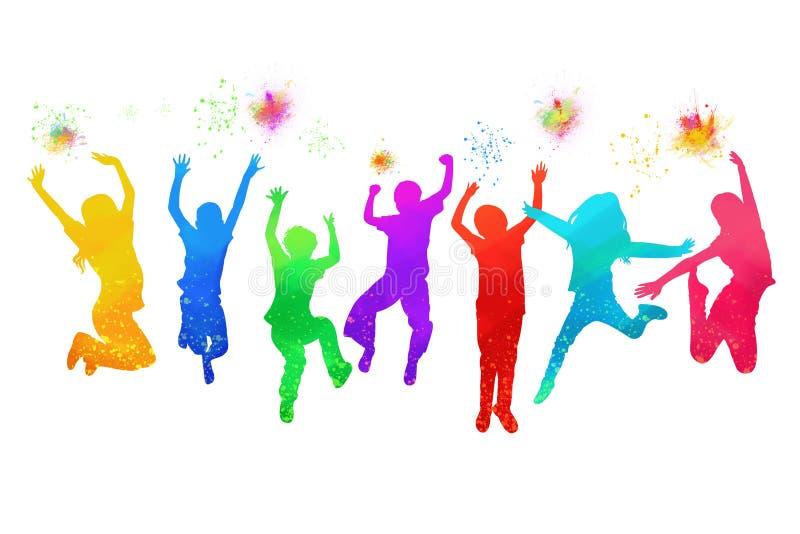 Los niños que saltan para la acuarela de la alegría imágenes de archivo libres de regalías