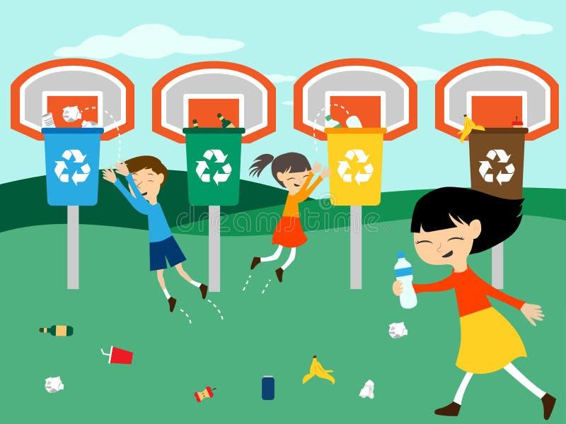 Los niños reciclan jugar en la cesta con el ejemplo del vector de la papelera de reciclaje stock de ilustración