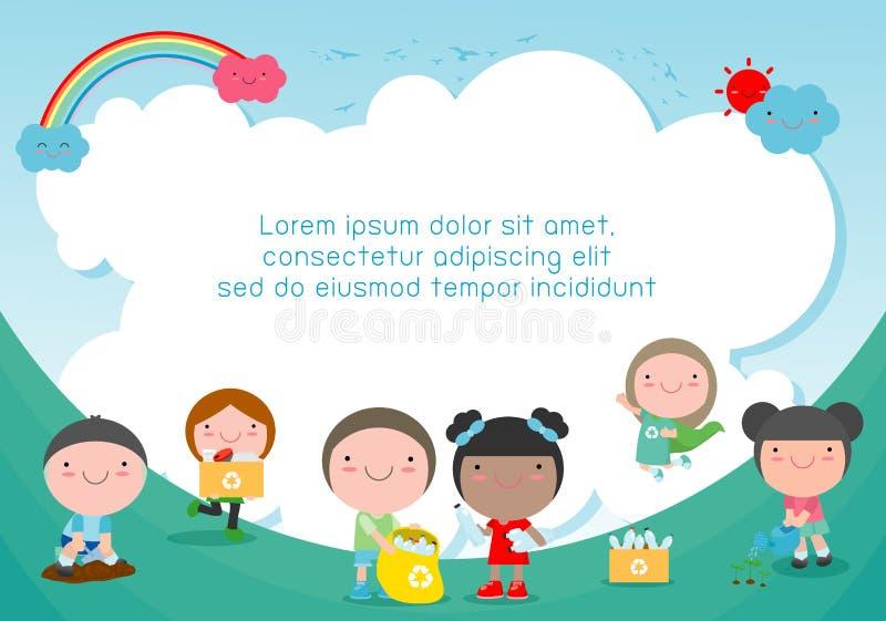Los niños recogen los desperdicios para reciclar, niños que segregan basura, ahorran el mundo, plantilla para el folleto de publi stock de ilustración