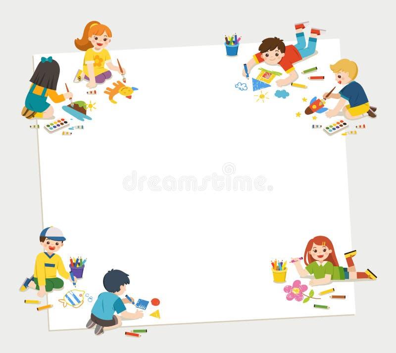 Los niños se divierten y lo alistan para conseguir de pintura juntos C stock de ilustración