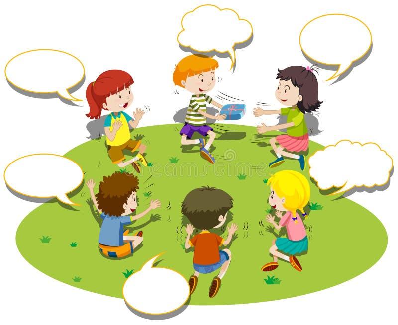 Los niños se sientan en juego del círculo y del juego stock de ilustración