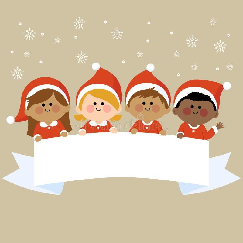 Los niños se vistieron en los trajes de la Navidad que sostenían la bandera en blanco horizontal libre illustration