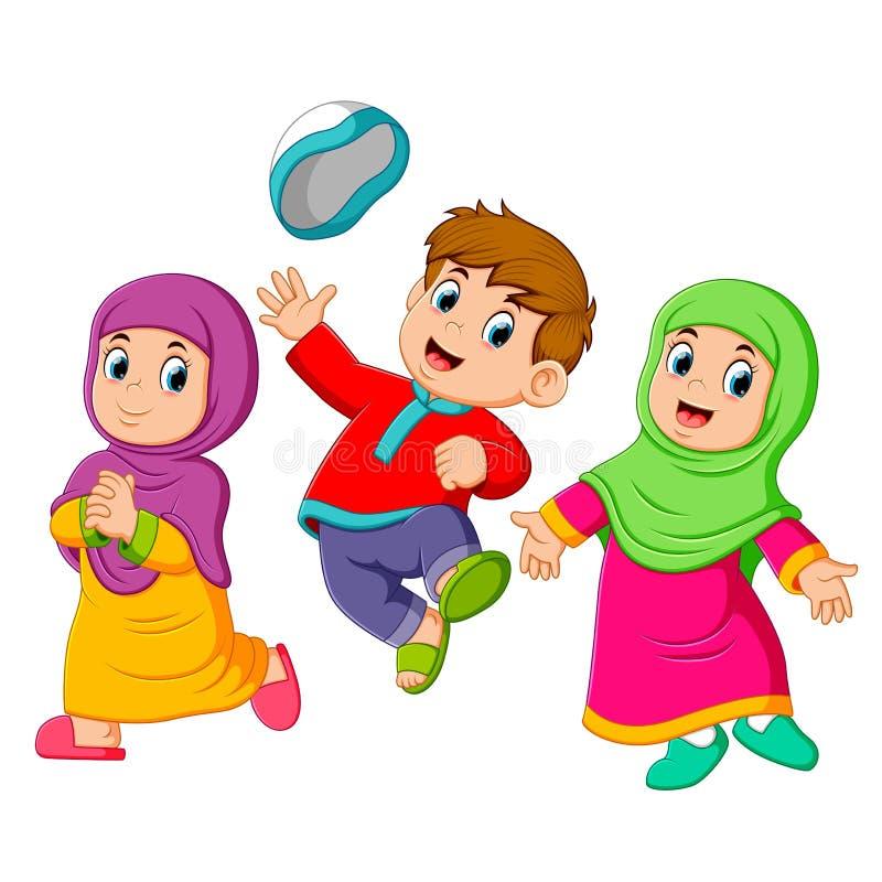 los niños son que juegan y de saltos en Mubarak ied ilustración del vector