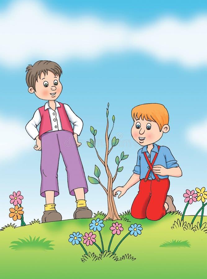 Los niños toman el cuidado de la planta ilustración del vector