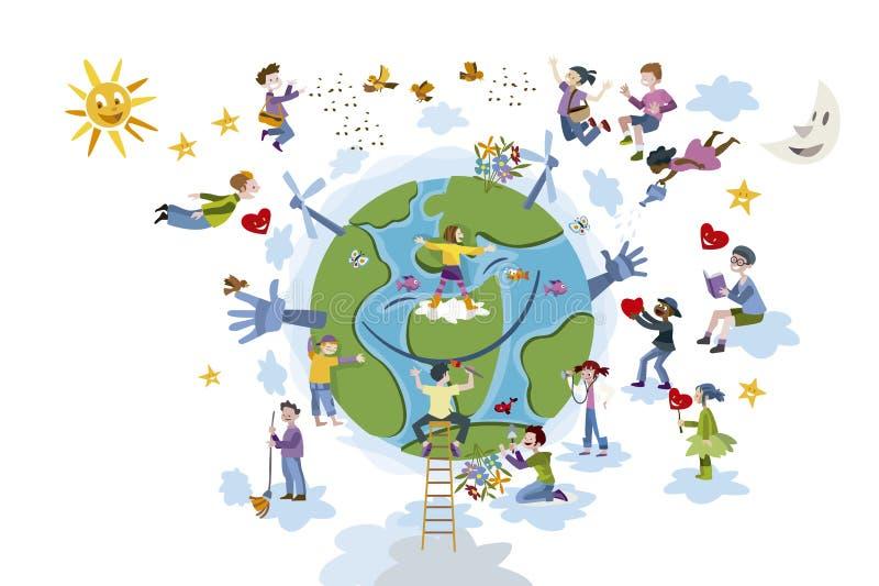 Los niños toman el cuidado del blanco de la tierra del planeta stock de ilustración