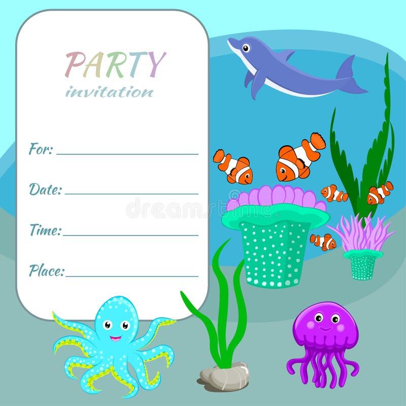 Los niños van de fiesta animales, pescados y las plantas coloridos de mar de la plantilla de la tarjeta de la invitación ilustración del vector