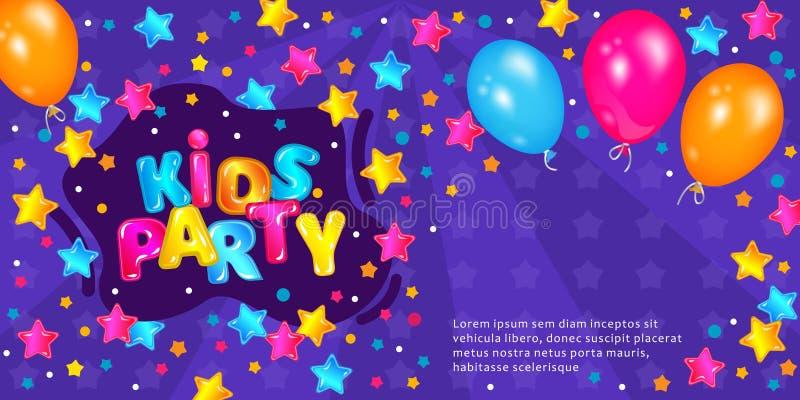 Los niños van de fiesta el aviador o la invitación con los globos y el ejemplo del vector del marco del auge libre illustration