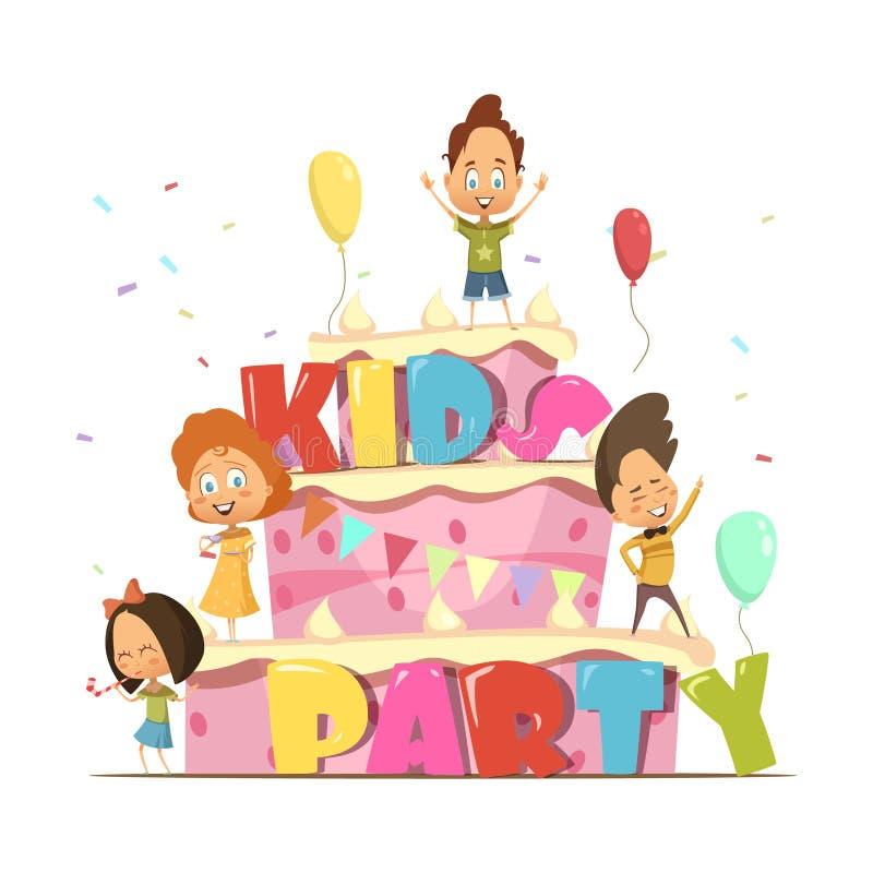 Los niños van de fiesta la composición retra libre illustration