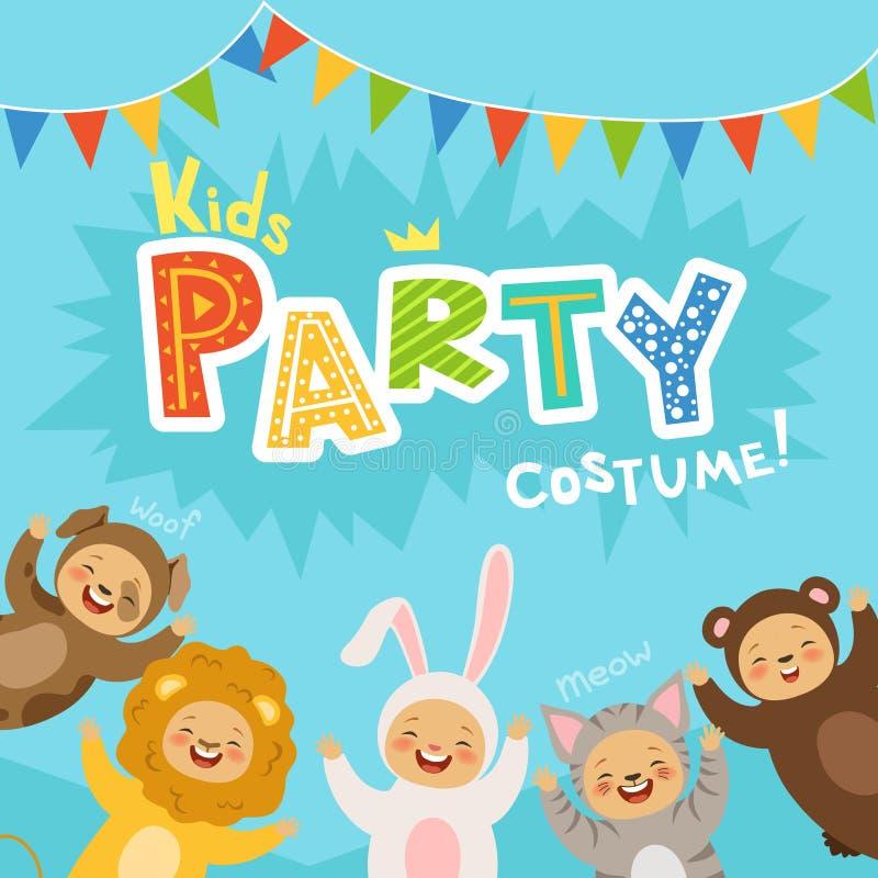 Los niños van de fiesta la invitación con los ejemplos de los niños felices en trajes del carnaval de animales libre illustration
