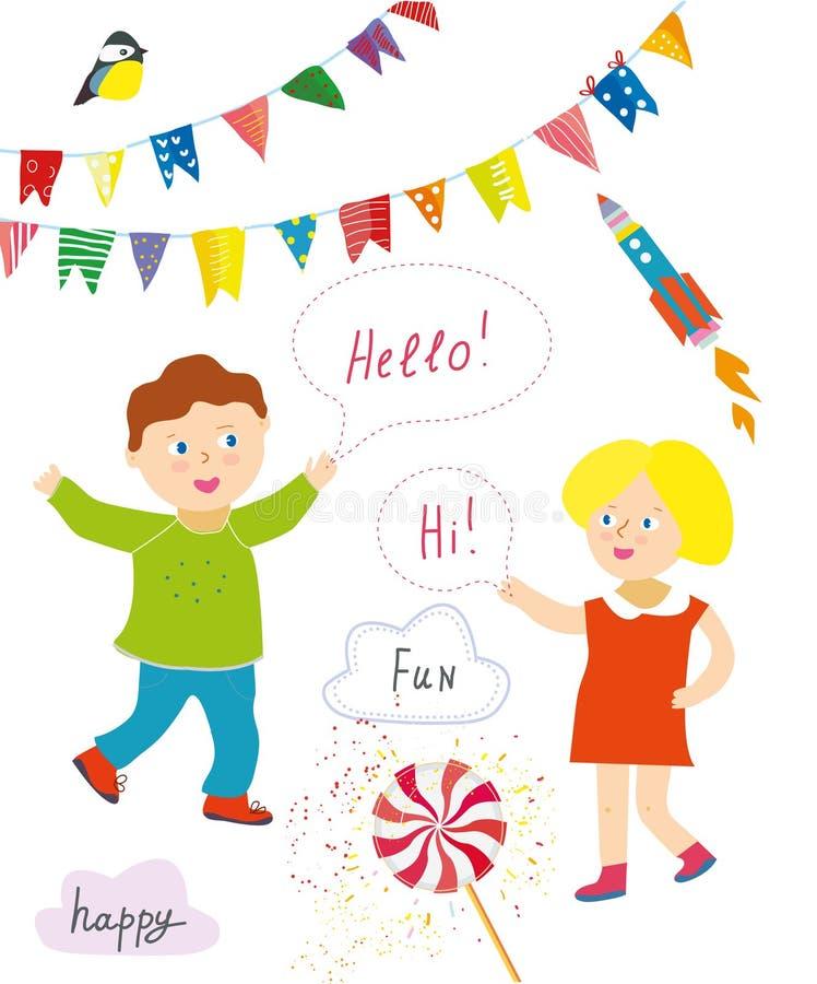 Los niños van de fiesta o la colección de la presentación con los artículos divertidos - banderas del empavesado, banderas, pirul stock de ilustración