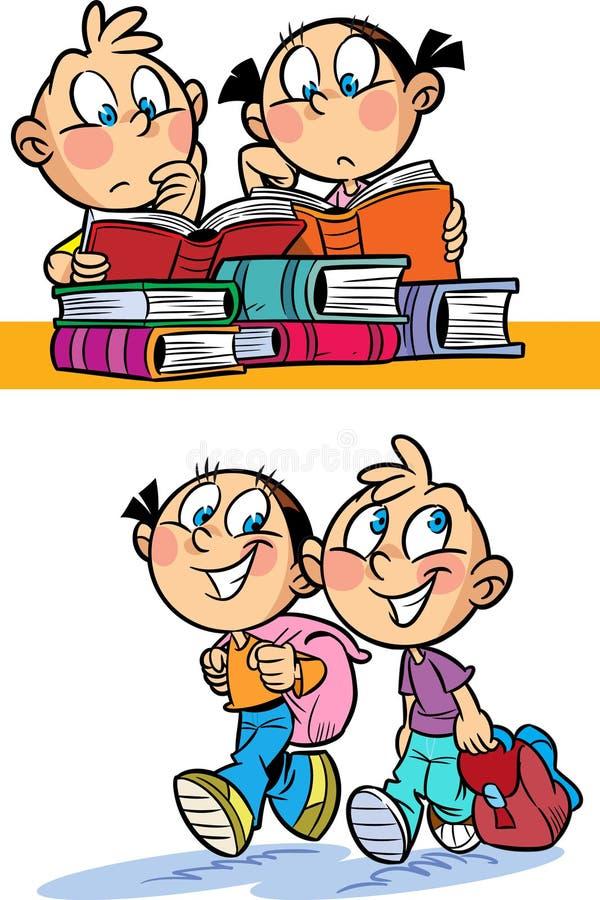 Los niños van a la escuela ilustración del vector