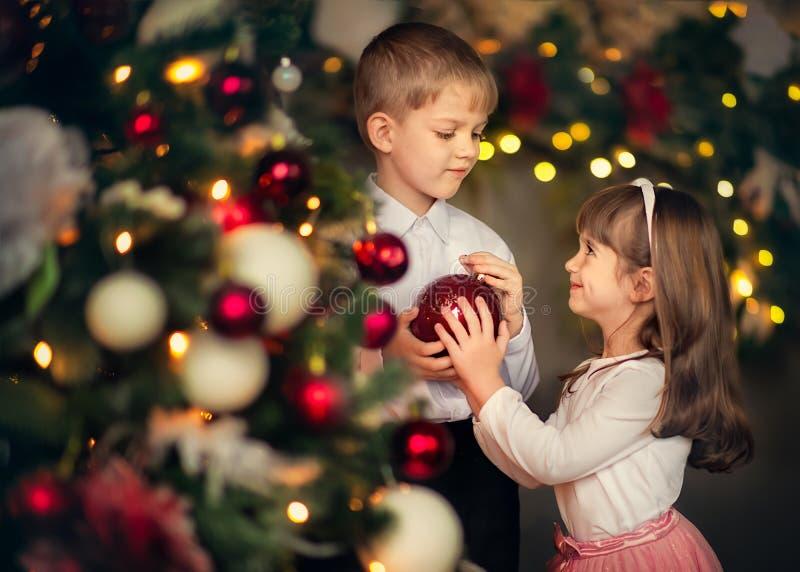 los niños visten para arriba un árbol de navidad foto de archivo