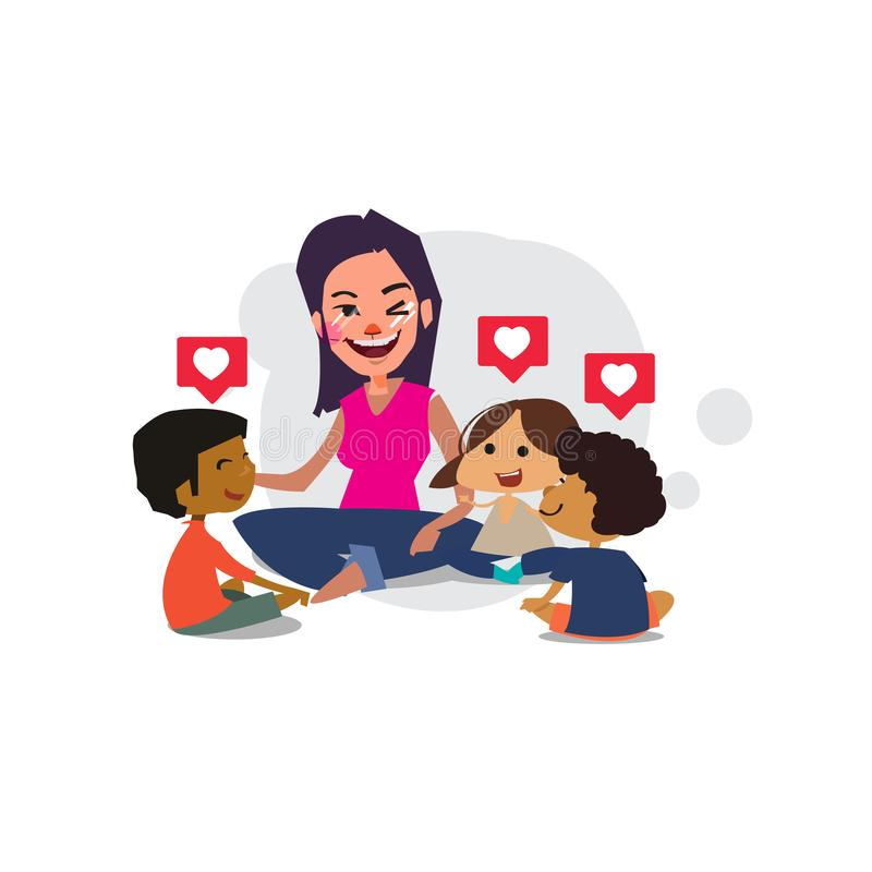 Los niños y el profesor de la escuela primaria sientan la cruz legged en el piso - ejemplo del vector stock de ilustración