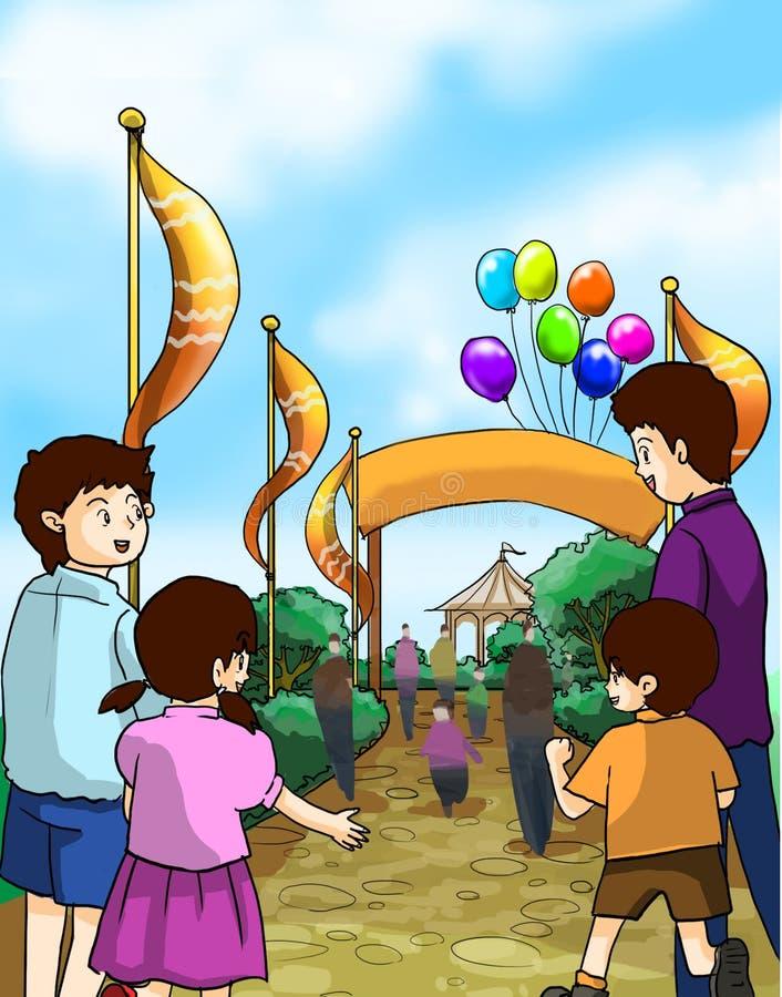 Los niños y las familias van a una feria de diversión ilustración del vector