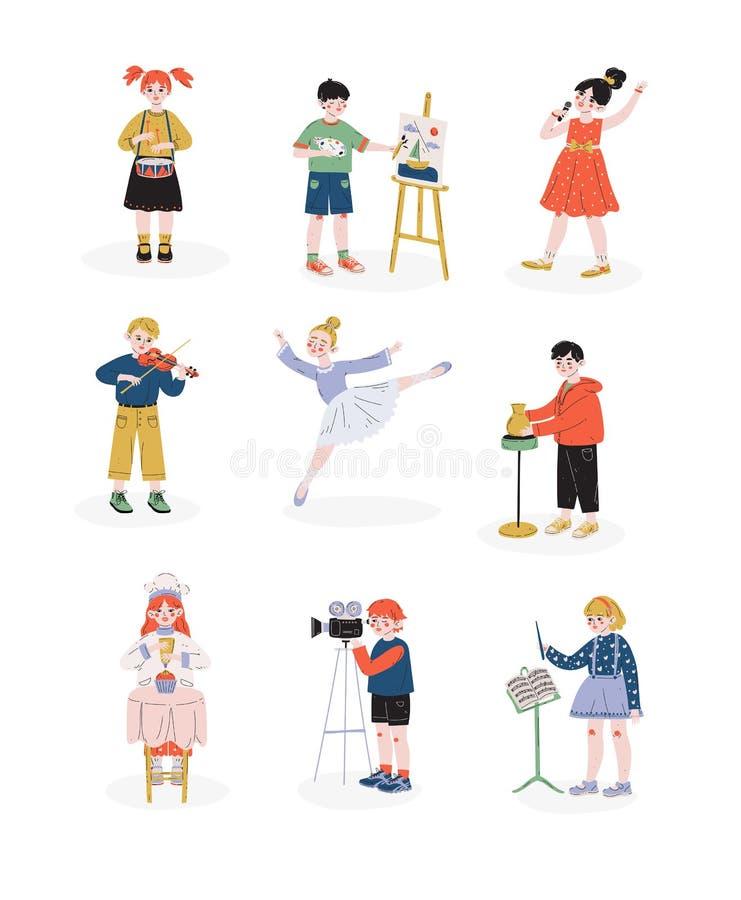 Los niños y sus aficiones fijaron, los muchachos y las muchachas que jugaban música, bailando, cantando, cocinando la afición, ed ilustración del vector