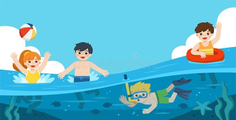 Los ni?os felices juegan y nadan en el mar Un salto del ni?o peque?o con los pescados debajo del oc?ano Ni?os que se divierten al libre illustration