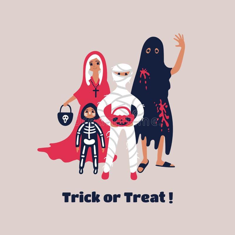 Los ni?os se vistieron en el vestido de lujo de Halloween para ir truco o el tratar ilustración del vector