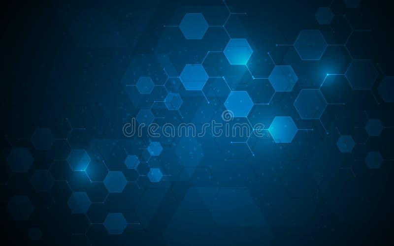 Los nodos moleculares de la tecnología del hexágono conectan el fondo del concepto de la innovación del diseño stock de ilustración