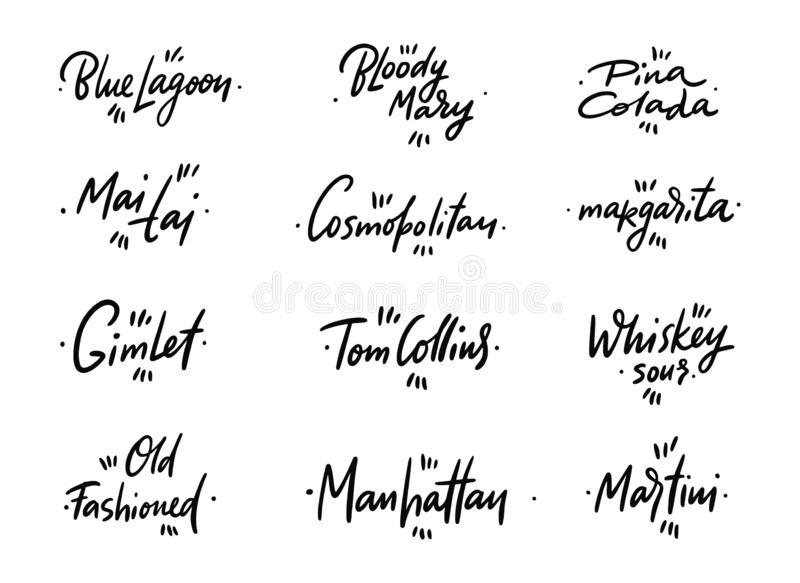 Los nombres de los cócteles dan las letras exhaustas Aislado en el fondo blanco ilustración del vector