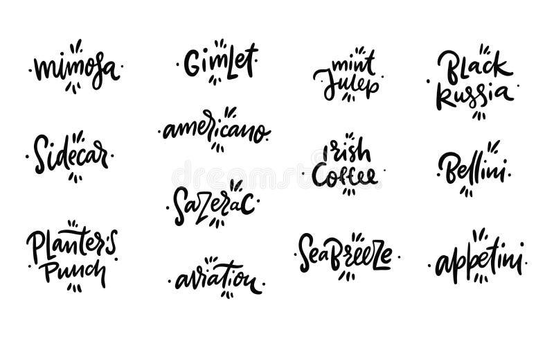 Los nombres de los cócteles dan las letras exhaustas Aislado en el fondo blanco stock de ilustración